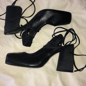 Zara block heel strappy shoes